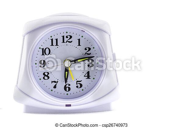 Reloj de alarma sobre fondo blanco - csp26740973