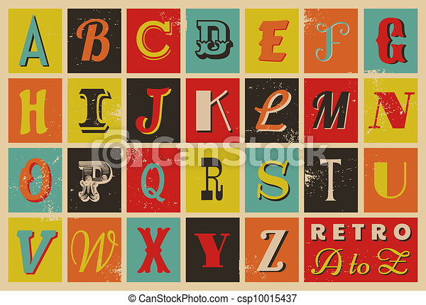 Alfabeto al estilo retro - csp10015437