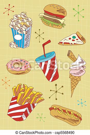Los iconos de comida rápida están listos - csp5568490