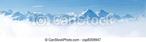 Panorama de paisajes de montaña de nieve alpes - csp8309947