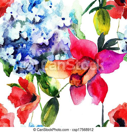 Patrón sin costura con hermosa hortensia y flores de amapola - csp17568912