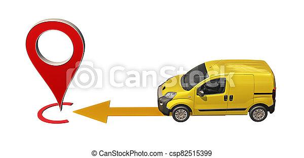 amarillo, alfiler, furgoneta, punto, paseos, mapa - csp82515399