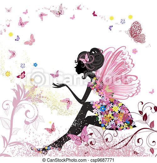 Hada de flores en el ambiente de las mariposas - csp9687771