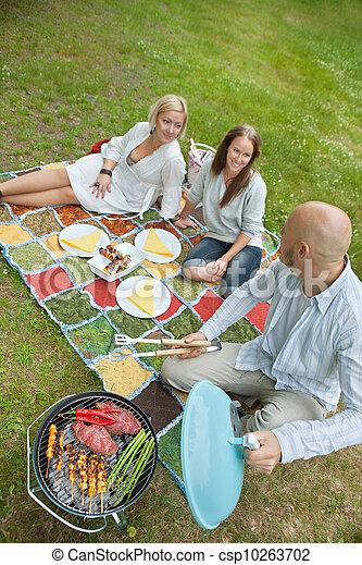 Amigos comiendo comida en un picnic al aire libre - csp10263702