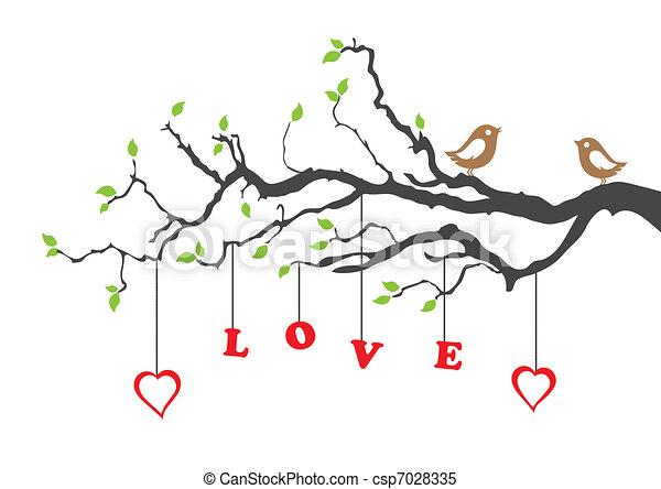 Dos pájaros de amor y un árbol de amor - csp7028335