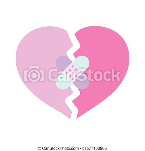 amor, feliz, corazón, vendas, triste, ayuda, día, roto, valentines, primero - csp77180906