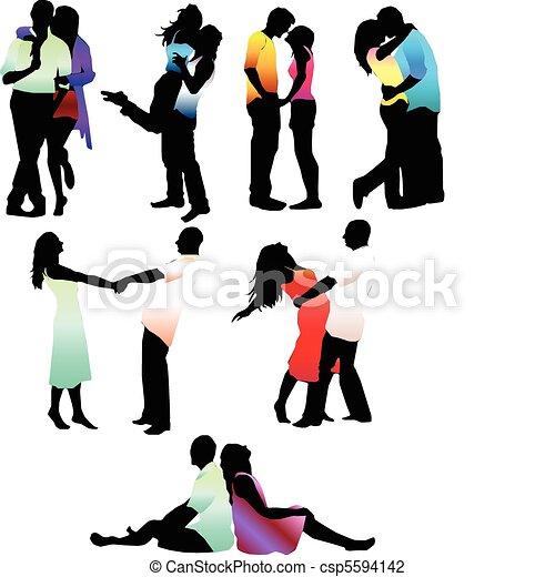 Una pareja de enamorados felices - csp5594142