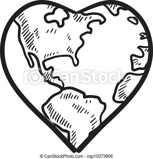 Amor por el boceto de la tierra - csp10373906