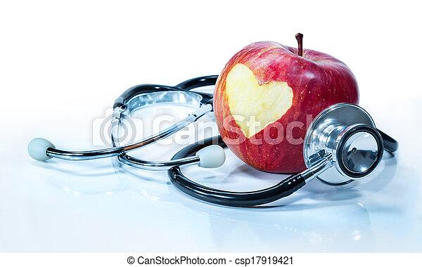 Concepto el amor por la salud - manzana - csp17919421