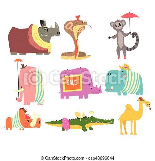 Animales africanos con atributos humanos y colección de ropa de personajes cómicos - csp43696044