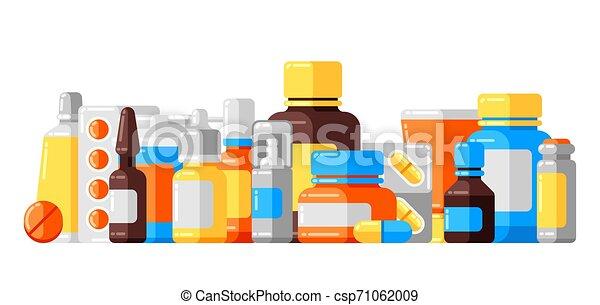 Antecedentes con frascos de medicina y pastillas. - csp71062009