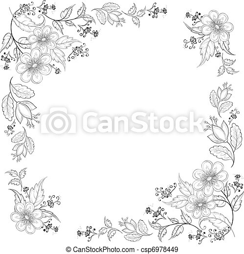 Antecedentes florales, contornos - csp6978449