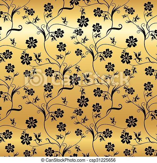 Antecedentes impecables con un patrón floral antiguo. - csp31225656