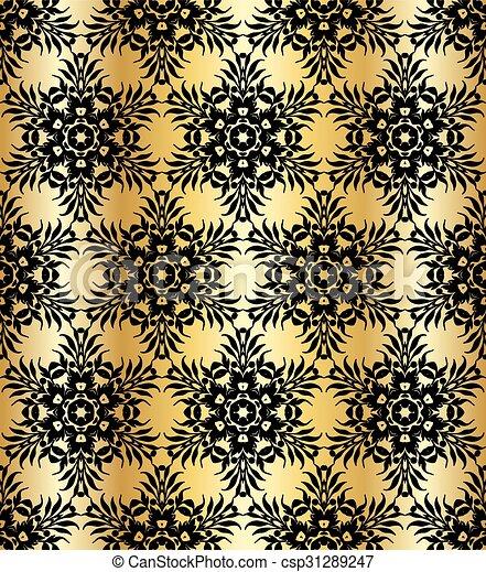 Antecedentes impecables con un patrón floral antiguo. - csp31289247