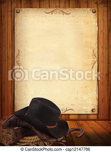Antecedentes occidentales con ropa de vaquero y papel viejo para texto - csp12147786