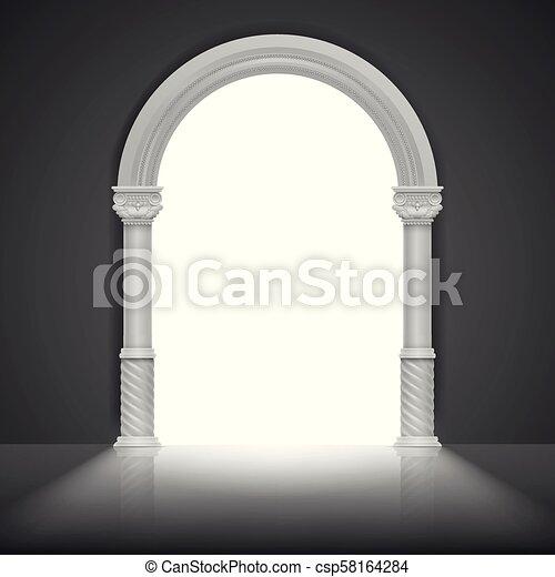 Arco romano con columna antigua. Diseño de marco de título de vector - csp58164284
