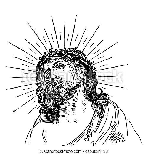 Antiguo Jesús grabado (vector) - csp3834133
