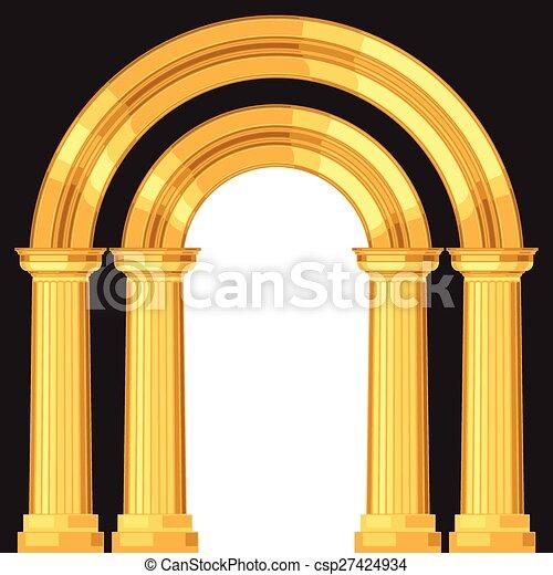 Arco griego antiguo y realista con columnas - csp27424934