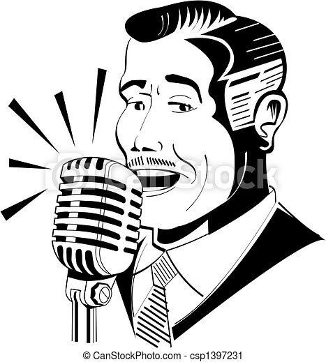 Locutor de radio en micrófono - csp1397231