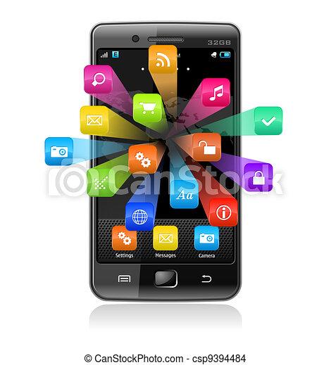 Un teléfono de pantalla con iconos de aplicación - csp9394484