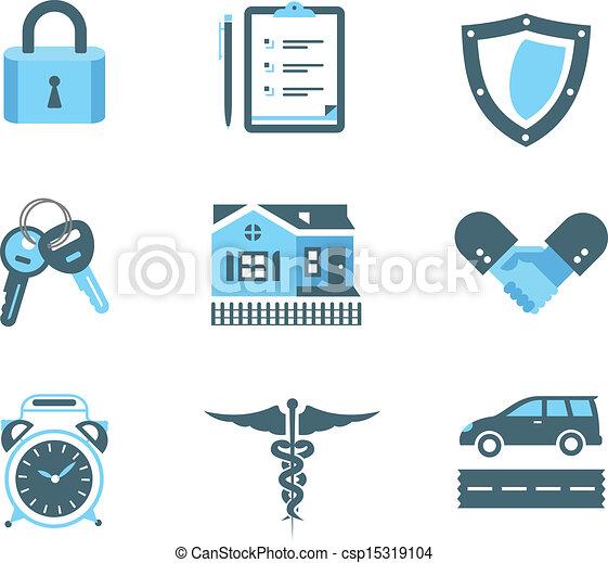 Los iconos del seguro - csp15319104