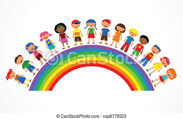 Arco Iris con niños, ilustración vectorial colorida - csp6779323