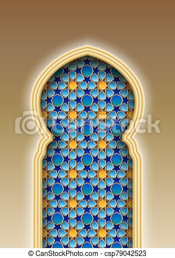 arco, tradicional, árabe, patrón, islámico - csp79042523