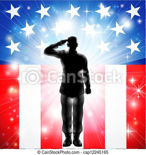 Las fuerzas armadas de EE.UU. saludan a los soldados silueta - csp12245165