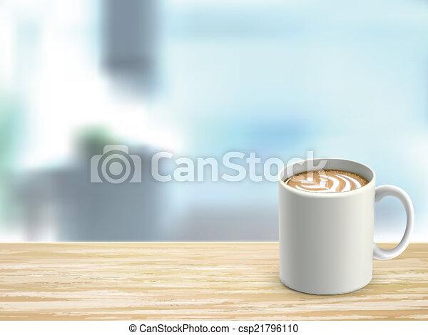 Armario de escritorio de madera y café en la habitación - csp21796110