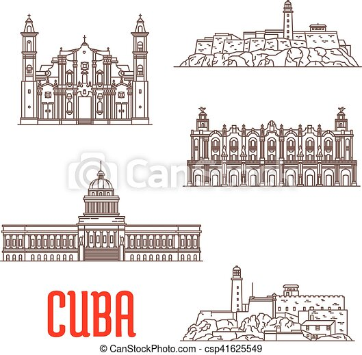 Arquitectura turista de Cuba, iconos de atracción de viaje - csp41625549
