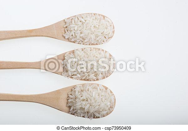 arroz, aislado, blanco, cuchara, de madera - csp73950409
