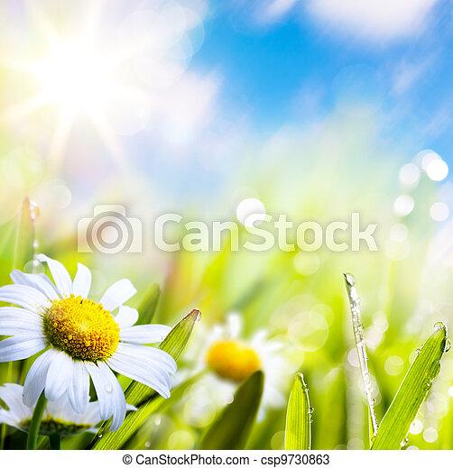 Arte abstracto flor de verano en la hierba con gotas de agua en el cielo del sol - csp9730863