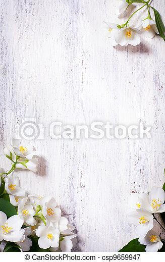 Art jasmine, flores primaverales enmarcadas en el pasado de madera - csp9659947