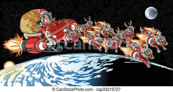Astronauta Santa Claus y reno - csp33219727