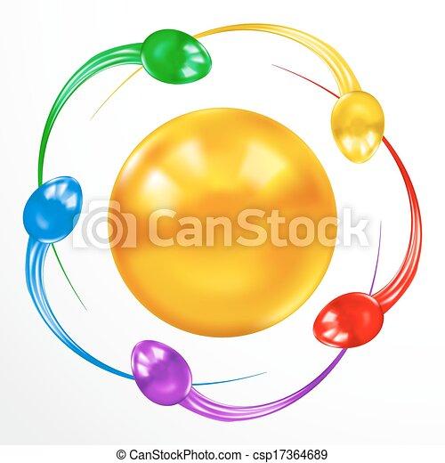 Ataque de esperma. Un concepto colorido aislado en el fondo blanco. - csp17364689