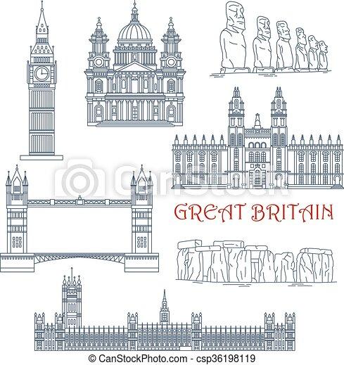 Atracciones de Gran Bretaña y el icono lineal chile - csp36198119