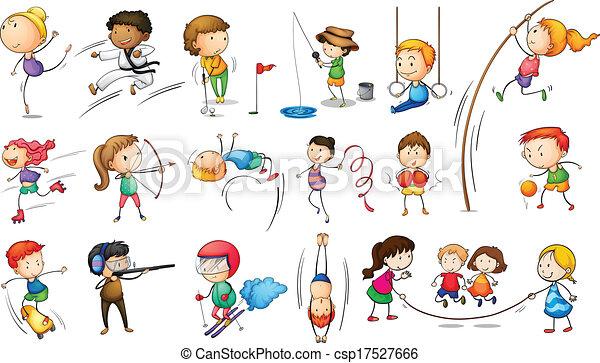 Niños participando en diferentes deportes - csp17527666