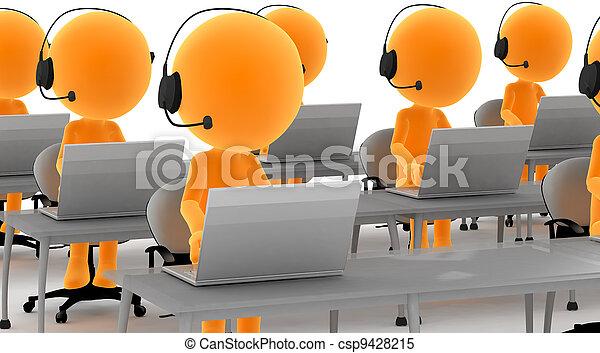 Hombres con auriculares y computadoras - csp9428215