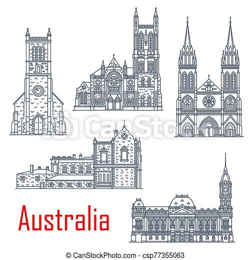 australiano, catedrales, iglesias, señal - csp77355063