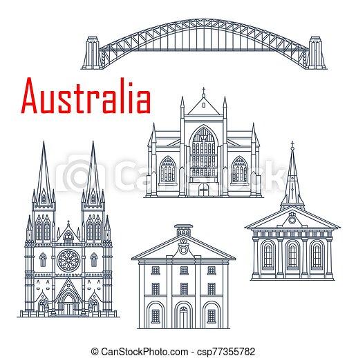 australiano, vector, conjunto, señales, viaje - csp77355782