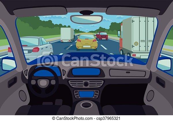 Autopista, carretera vista dentro del automóvil. Ilustración de vectores - csp37965321