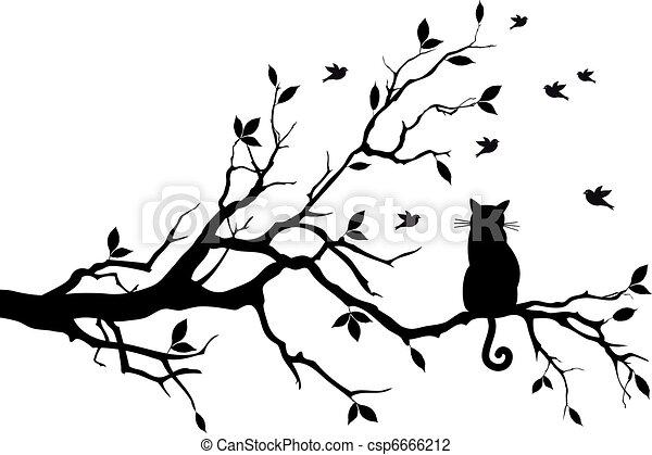 Gato en un árbol con pájaros, vector - csp6666212