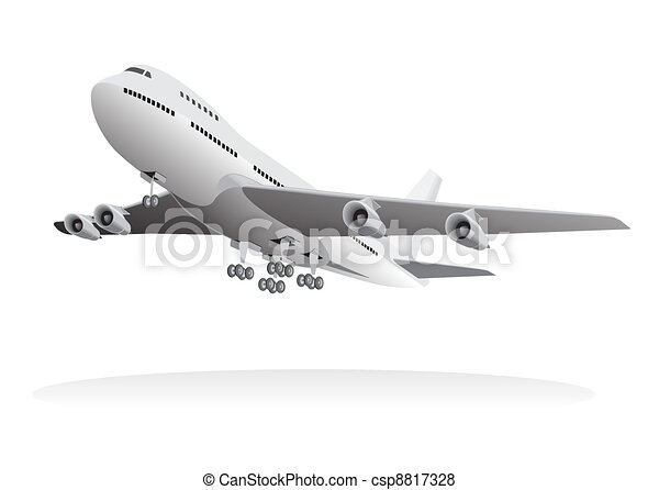 Avión de pasajeros que sale del suelo - csp8817328