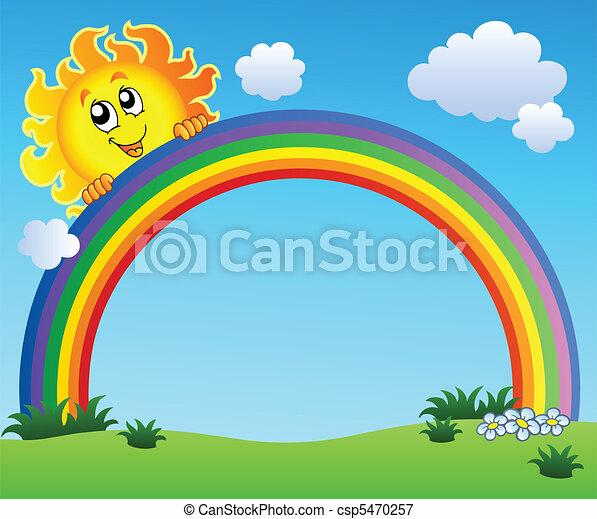 El sol sostiene el arco iris en el cielo azul - csp5470257