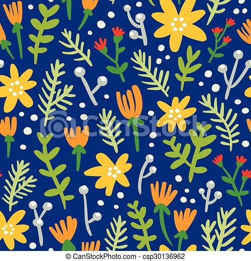 Patrón azul sin fondo con flores coloridas - csp30136962