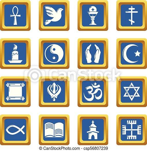 Los iconos religiosos marcan vector cuadrado azul - csp56807239