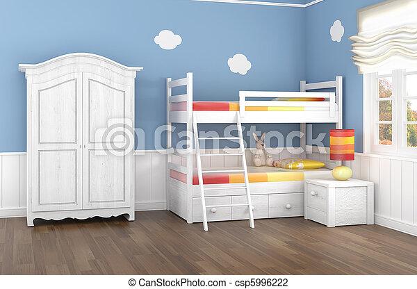 El dormitorio de los niños azules - csp5996222