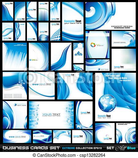 Colección de tarjetas corporativas: olas azules - csp13282264