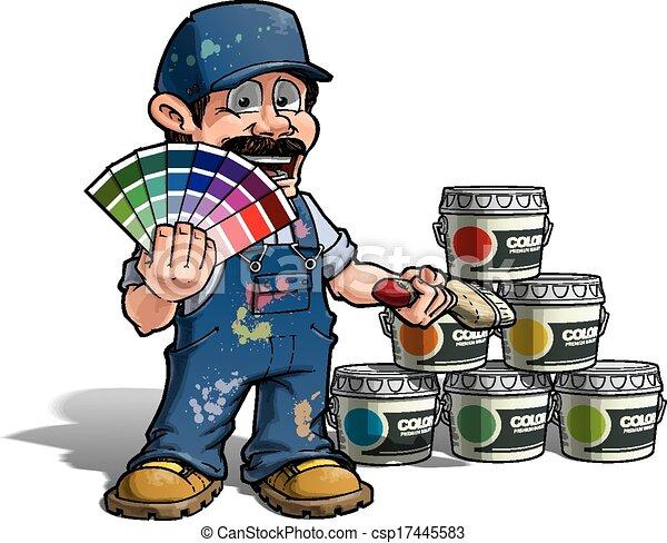 Handyman, color de color uniforme azul pintor - csp17445583
