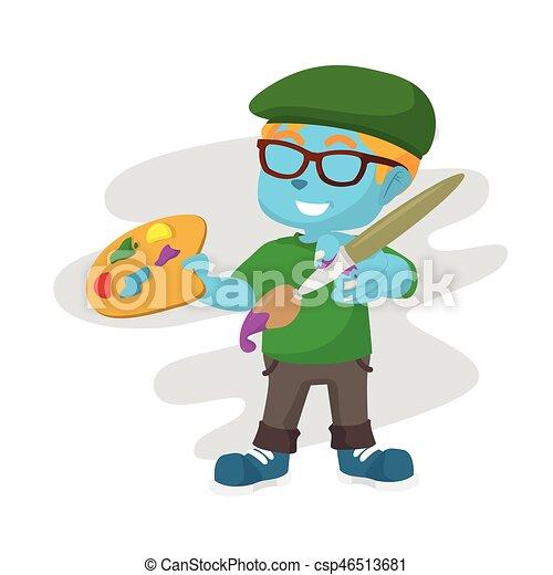 Ilustración de un pintor azul - csp46513681